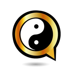 Alphabet Q with ying and yang symbol vector image