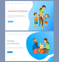 Assistance to orphans helping homeless people vector