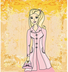 Autumnal fashion girl in a coat in sketch-style vector