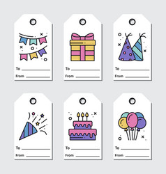 Birthday tags design on white background vector
