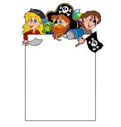 Blank frame with cartoon pirates vector