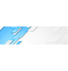 blue and white geometric corporate banner design vector image