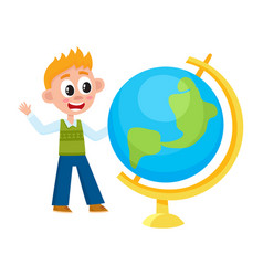 boy schoolboy looking at big school globe vector image
