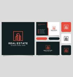 Building logo with line art style city building vector