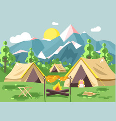 Camping with tents on nature vector