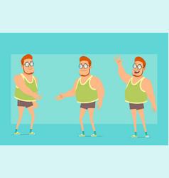 Cartoon flat funny fat boy character set vector