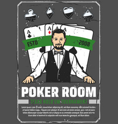 Casino poker room ace cards and croupier vector
