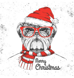 Christmas hipster fashion animal bulldog vector