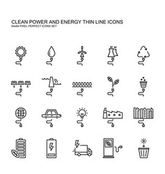 Clean power and green energy thin line icons set vector