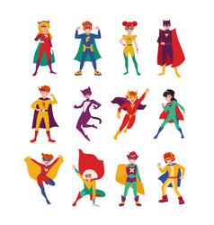 collection of kids superheroes bundle of boys and vector image