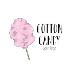 Cotton candy on a stick logo for your candy vector