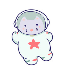 cute kawaii cat travels in space funny vector image