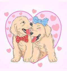 Cute puppy love vector
