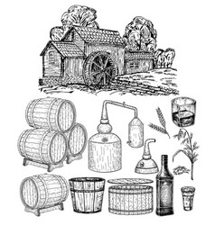 Distillery hand drawn whisky production vector