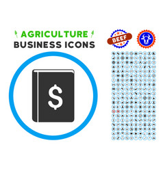 dollar book rounded icon with set vector image