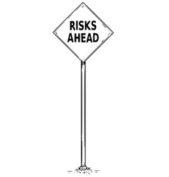 Drawing arrow traffic sign with risk ahead text vector
