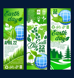 Earth day banner with eco planet and green leaf vector