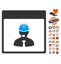 Engineer calendar day icon with love bonus vector