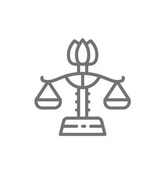 Female libra gender equality lady justice line vector