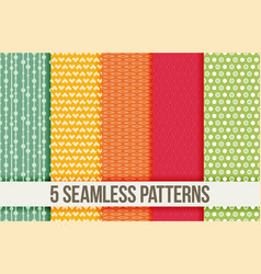 Five seamless geometric patterns vector