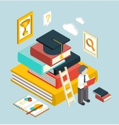 Flat 3d Web Isometric Education Graduation vector
