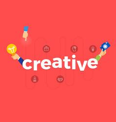 Flat design concept hand create symbol icon and vector