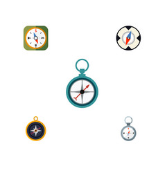 flat icon compass set of instrument measurement vector image vector image