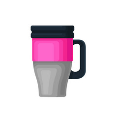 Flat icon of pink-gray aluminum thermo cup vector