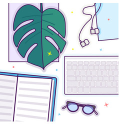 flat lay with glasses open book glasses vector image