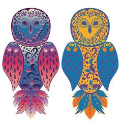 folk ornamental owl vector image