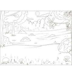 Forest cartoon coloring book educational game vector