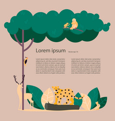 forest with wild animals vector image