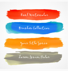 Four real watercolor brush stroke set vector