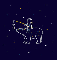 Funny cartoon astronaut sits on constellation vector