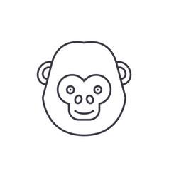 funny chimpanzee line icon concept funny vector image