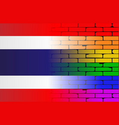 Gay rainbow wall thai flag vector