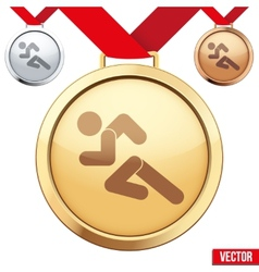 Gold Medal with the symbol of running people vector