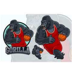 gorilla mascot for basketball team vector image