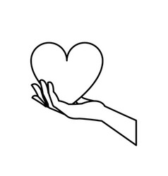 Hand holding heart blood donation symbol line vector
