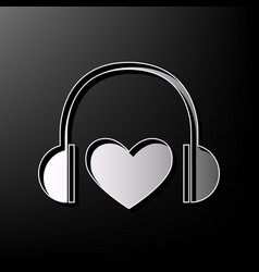 headphones with heart gray 3d printed vector image