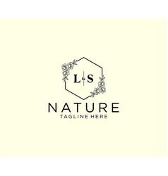 Initial ls letters botanical feminine logo vector