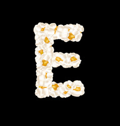 Letter e made up airy popcorn vector
