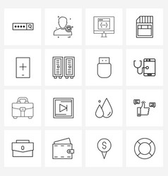 Line icon set 16 modern symbols smartphone vector