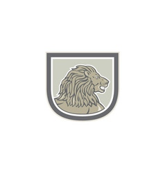 Lion Big Cat Head Side Shield vector image