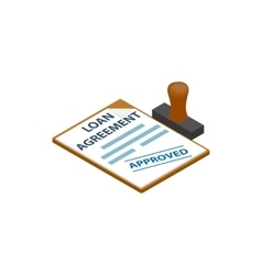 Loan agreement with loan approved stamp icon vector image