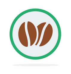 logotype coffee beans in a green circle flat vector image