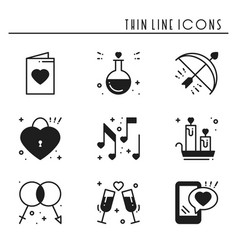 Love line icons set happy valentine day vector