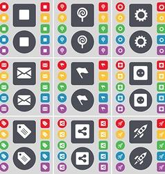 Media stop Lollipop Gear Message Flag Socket Tag vector image