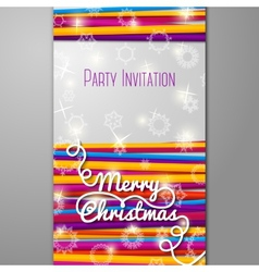 Merry Christmas Party invitation - bright laces on vector image