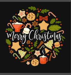 Merry christmas winter holiday symbolic images in vector